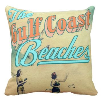 Vintage Gulf Coast Poster Pillow