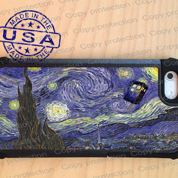 SALE iPhone 5 case with extra protection - Van Gogh inspired Tardis Doctor Who iPhone 5 hard case, 2 piece rubber lining case