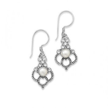 Oxidized Cultured Freshwater Pearl Scroll Design Earrings