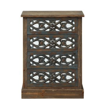 Boho Bungalow Four Door Mirrored Chest
