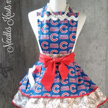 Chicago Cubs Apron, Womens Chicago Cubs Flirty Game Day Apron, Baseball Apron, Gifts for Women