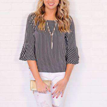 * Lacee Striped Top With Bell Sleeves : Black/White