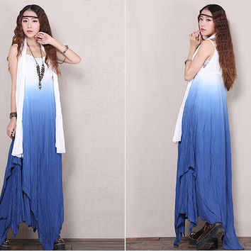 Women cotton linen maxi dress sleeveless gradient bohemian beach big swing long dress spaghetti strap with scarf 631072