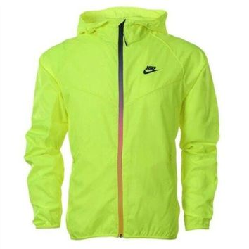 Kalete Nike Fashion Women Men Causal Fluorescent Green Zippe Hoodie Cardigan Sweatshirt Jacket Thin Coat Windbreaker Sportswear