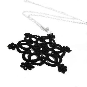 Gothic black lace tatted pendant by Decoromana on Etsy
