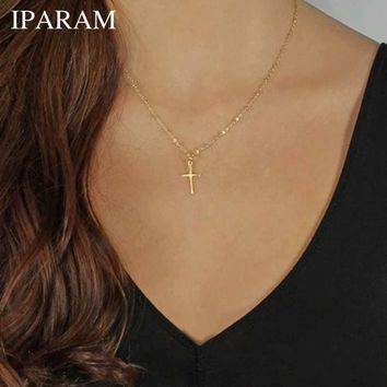 IPARAM 2017 Summer Gold Chain Cross Necklace Small Gold Cross Religious Jewelry
