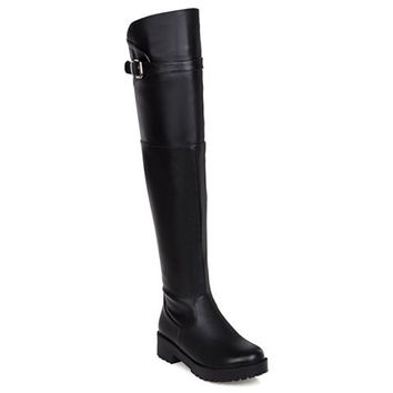 Black Thigh Boots With Zipper and Low Heel Design