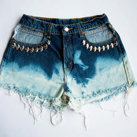 Vintage High Waist Blue Ombre Bleached Distressed Denim Cut Off Skull Shorts