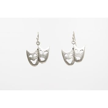 Comedy Tragedy Masks Silver Plated Dangle Fashion Earrings