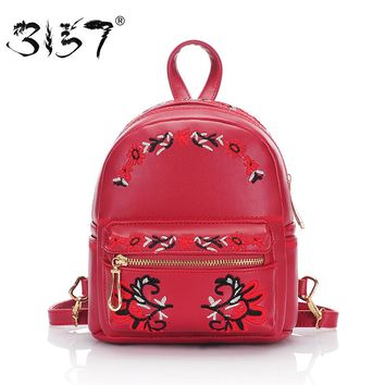 vintage women small leather backpack handmade embroidery mini school bags for girls multifunction mini female backpacks 3157