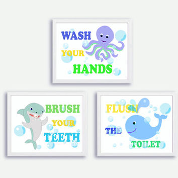 Instant Download Octopus, Whale, Shark, Baby Kids Nursery Bathroom Signs Poster Set of 3 Wash your Hands, Brush Your Teeth, Flush the Toilet