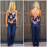 Cross My Heart Rose Print Tank - BLACK