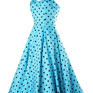 Blue Polka Dot Straps Cotton Vintage Dress