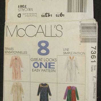 McCall's Sewing Pattern 7361 Uncut Misses Nightgown Robe In Two Lengths 8 Great Looks In One V Neck Womens Sleepwear Pajamas Size S M L