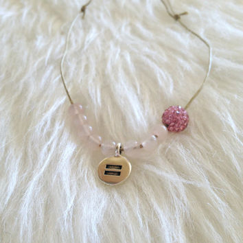 Rose Quartz Love and Equality Necklace - Handmade, LGBT, Pink, Stones, Rhinestone, Lesbian, Gay, Bisexual, Transgender, Genderfluid, Love