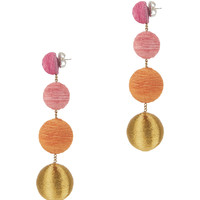 Silk Metallic Cord Gumball Drop Earrings