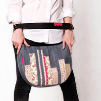 Patchwork bag leather handle. Denim floral shoulder bag. Jeans purse.
