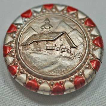 Button Vintage Button, Antique Button -  Picture Button, Old Barn, Trees, Mountains - Collectors, Seamstresses, Tailors