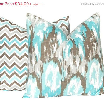 SALE Pillows, Decorative Throw Pillow Covers, Pair of Two,  Home Decor Brown and Aqua Premier Ikat Cushion Cover Toss Pillow All Sizes