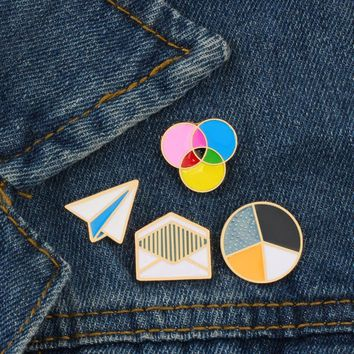 Trendy Simple Paper Plane Envelope Round Colorful Pin Brooch Badge Creative Jewelry for Lovers Kids Pins Denim Jacket Clothing Backpack AT_94_13
