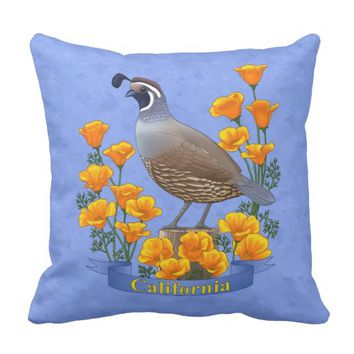 California State Bird Quail & Golden Poppy Outdoor Pillow