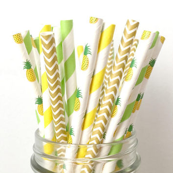 PREORDER SEPTEMBER 4th - Pineapple Paper Straws - Tropical Pineapple Party Decor, Luau 1st Birthday Party, Beach Bachelorette, Baby Shower