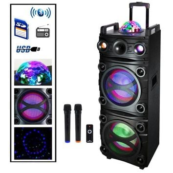 Befree Sound Dual 10 Inch Subwoofer  Bluetooth Portable Party Speaker with Sound Reactive Party Lights, Top LED Projection Dome, USB- SD Input, Rechargeable Battery, Remote Control And 2 Wireless M