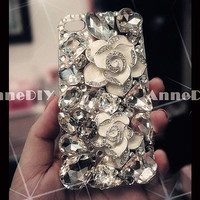 gem camellia iPhone case, diamond iPhone 5 case, iPhone 4s case with bring bring crystal, handmade iPhone 4 cases with flowers, gift