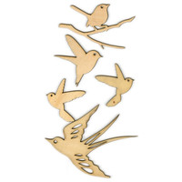 Kaisercraft: Wooden Bird Flourishes, for Scrapbooks, Mixed Media Art, ETC