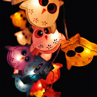 On-Off Switch (20 bulbs) Handmade Cute Owl mulberry paper Lanterns for Patio,Wedding,Party and Decoration