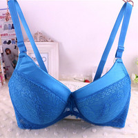 [6Colors] 2016 woman Plus Size Bra Push Up Sexy Lace Large Size Bras For Womens Underwear Deep V Cotton Brassiere