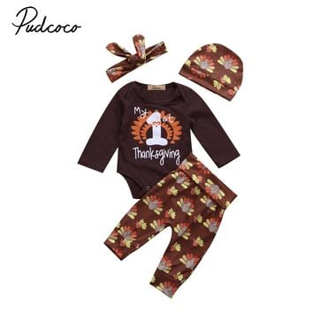 Baby Thanksgiving Clothes set Autumn Newborn Romper Bodysuit Long Pants Hat 4Pcs Outfit Clothes Set