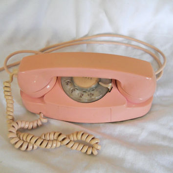Vintage Pink Phone Princess Phone Pink Telephone Western Electric Rotary Telephone Rotary Phone Mid Century Decor 50s Decor 60s Decor Kitsch