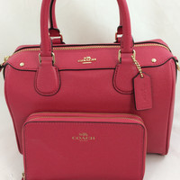 New Authentic Coach F57521 Mini Bennett Satchel Shoulder Bag Crossgrain leather in Bright Pink+Wristlet Set