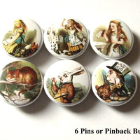 Cute Alice PINBACK BUTTONS pins badges wonderland mad hatter chesire cat