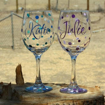 5 Extra Large Personalized Wine Glasses. Great for Bachelorette parties.
