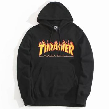 """THRASHER"" Fashion Casual Women High Quality  Print Flame Movement  Hooded Sweater Black"