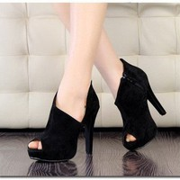 2012 New Fashion Women Vogue Platform Pumps High Heels Ankle Boots Shoes Black - Heels