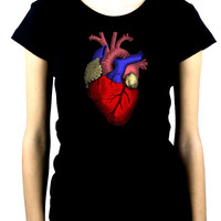 Anatomical Human Heart Women's Babydoll Shirt Medical Oddities Clothing