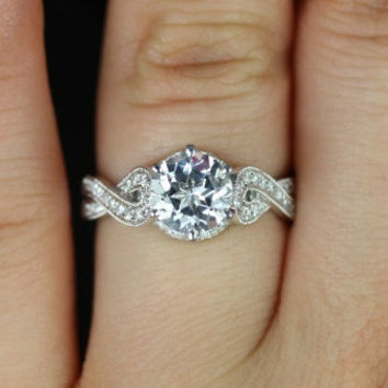 Tatiana 14kt White Gold Round White Topaz Looped Twist Diamond Engagement Ring (Other metals and stone options available)