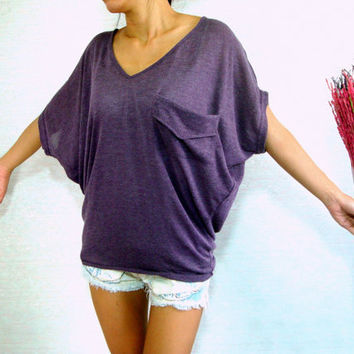 Dolman Sleeve Top / Dolman / Purple Women Blouse - Oversized Top / V Neck Tee / Ladies T shirt - Casual Chic Wide Sleeve Women's Top