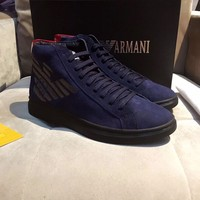 Armani Men's Suede Leather Fashion High Top Sneakers Shoes