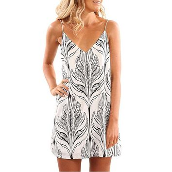 Women Sleeveless Printed Short Mini Dress
