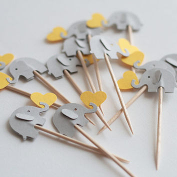 24 elephant cupcake toppers Yellow and gray Party Picks - Cupcake Toppers Baby Shower - Food Picks