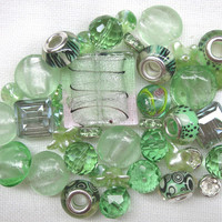 40 Pcs Mint Green Bead Mix Assorted Beads Mint Green Beads Lentil Beads Glass Bead Soup Light Green Beads Large Beads Square Beads