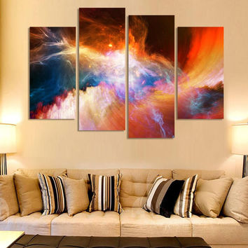 Free shipping 4 piece large canvas art cheap modern abstract Purple pictures oil painting landscape wall decor