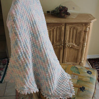 """Handmade Crochet Newborn Baby Blanket, Photography Props Blanket, Baby Wrap Blanket, Car seat tent canopy /Made to order/32""""X 32""""/81cm"""