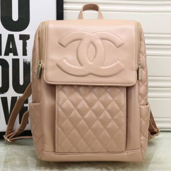 CHANEL Women College Leather Satchel Backpack Bookbag Apricot G-MYJSY-BB