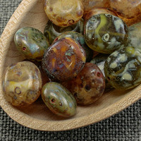 Nature look beads, Flat rounded rectangle, Picasso stone, Czech glass beads, Mixed colors