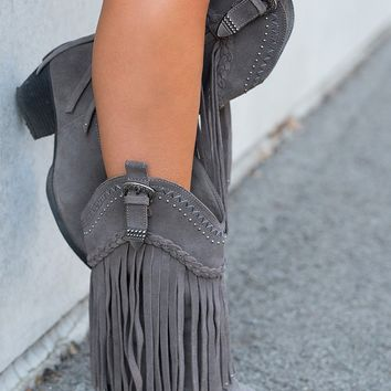 Hometown Suede Fringe Boots (Charcoal)